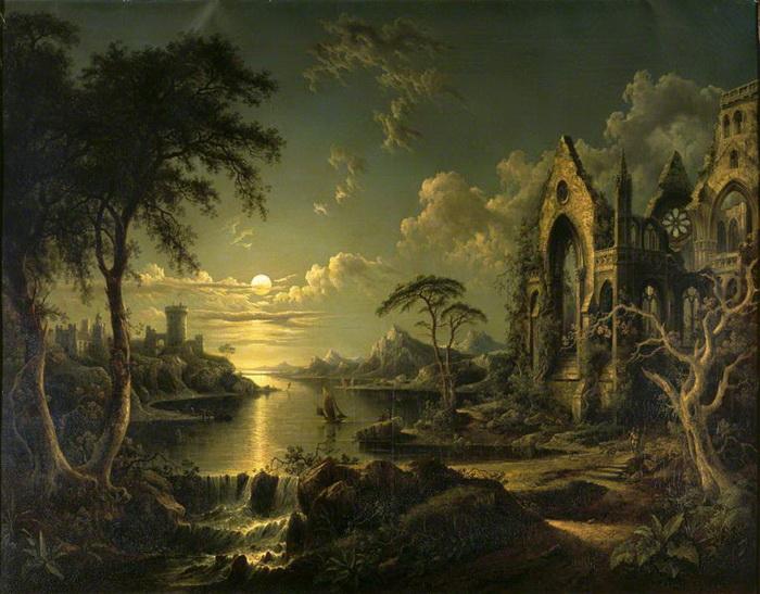 С. Петер. Разрушенная готическая церковь у реки при лунном свете