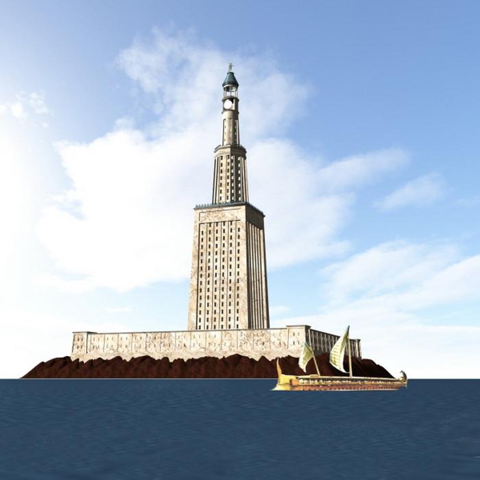 Так, согласно графической реконструкции, выглядел Александрийский маяк