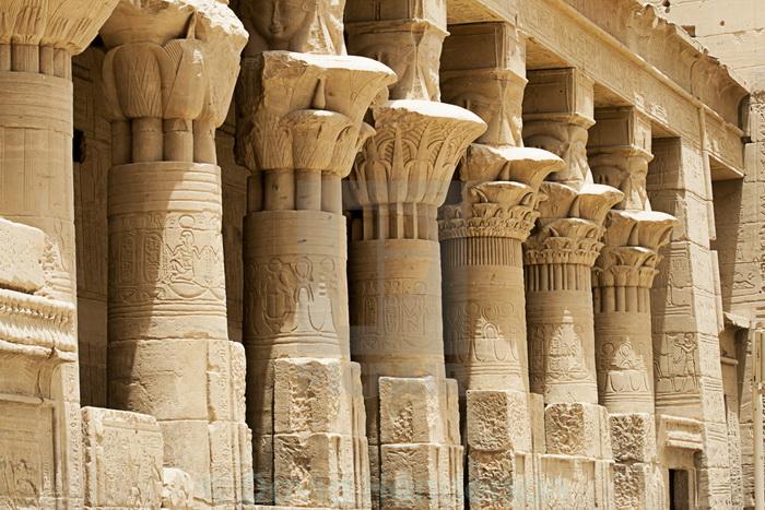 Колонны древнеегипетских храмов сооружали в форме стеблей папируса