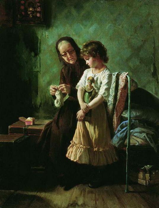 А. Корзухин. Бабушка с внучкой