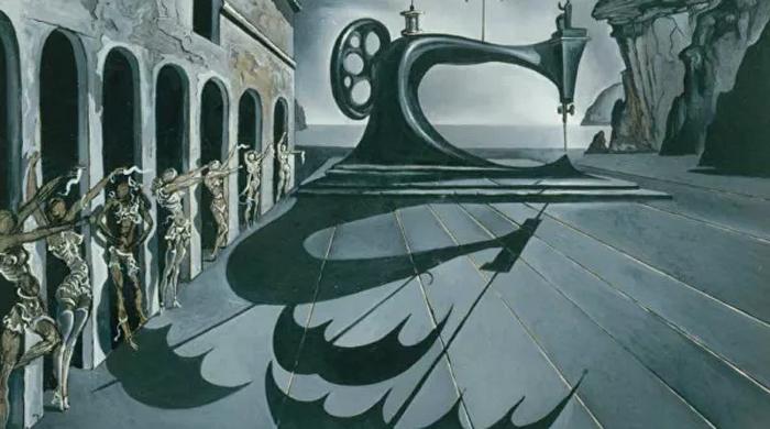 С. Дали.«Швейная машинка и зонтики в сюрреалистическом пейзаже»