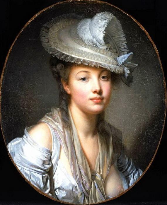 Ж.Б. Грез. Портрет женщины в шляпе