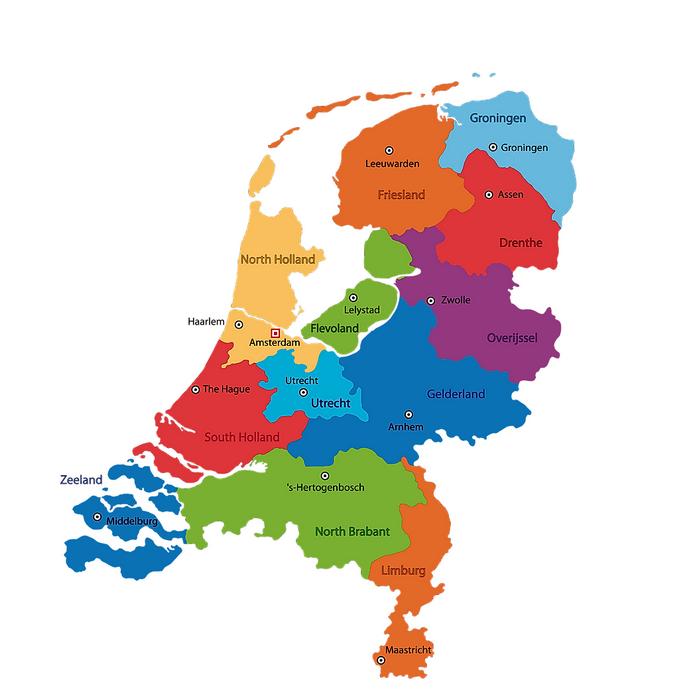 Провинции на карте Нидерландов