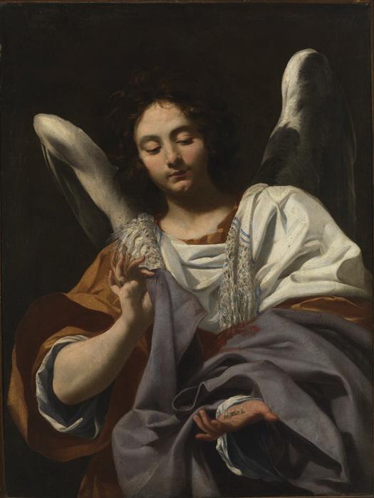 """С. Вуэ. """"Ангел с игральными костями и туникой Христа"""""""