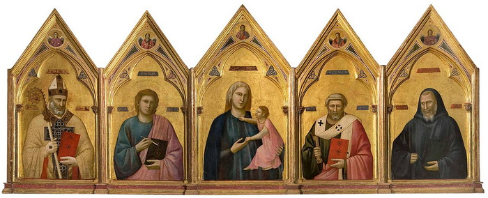 Полиптих работы Джотто ди Бондоне, на котором обнаружена подпись художника