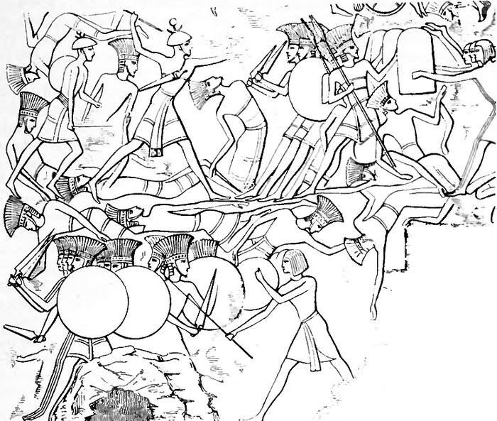 Рисунок с барельефа древнеегипетского храма: изображено сражение египтян с напавшими на них «народами моря»