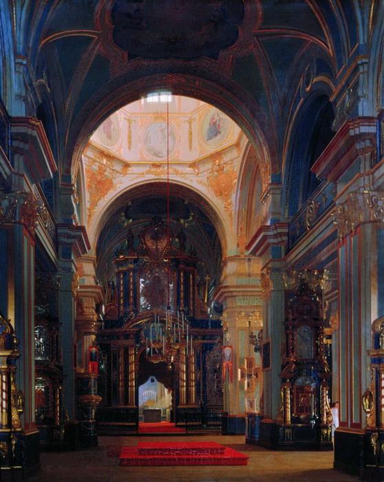 С. Зарянко. Внутренний вид Морского Никольского собора в Петербурге