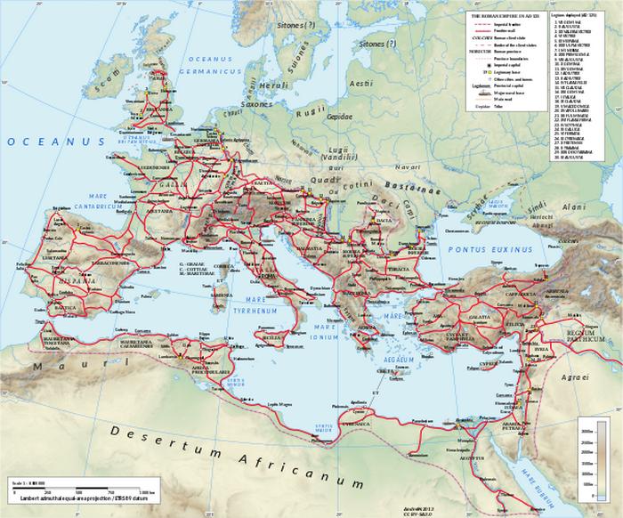 Красными линиями обозначены дороги, которыми были оборудованы провинции Римской империи. Фото: Википедия