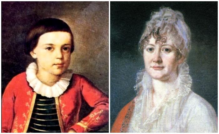 Михаил Лермонтов и его бабушка, Елизавета Алексеевна Арсеньева
