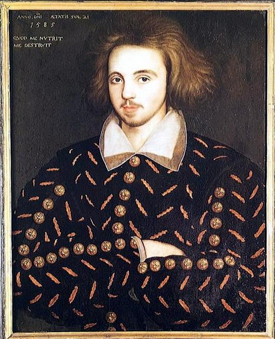 Кристофер Марло, другой популярный драматург шекспировской эпохи. Входит в число возможных кандидатов на роль подлинного автора произведений Шекспира