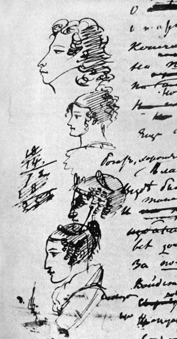 Рисунки Пушкина на полях рукописей: автопортрет, Мария и Екатерина Раевские, Амалия Ризнич