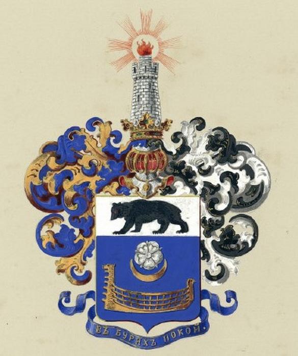 Герб Пономаревых с девизом «В бурях покой»