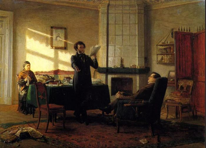 Н. Ге. Пушкин в селе Михайловском