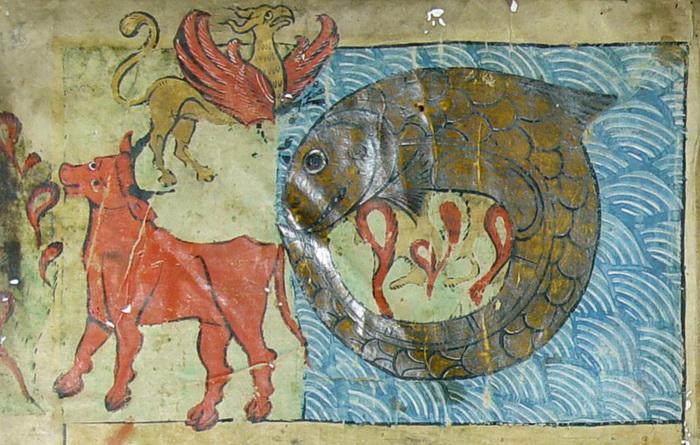 Левиафана изображали властителем водной стихии, бегемота - зверем суши, а в воздухе якобы хозяйничала мифическая птица Зиз