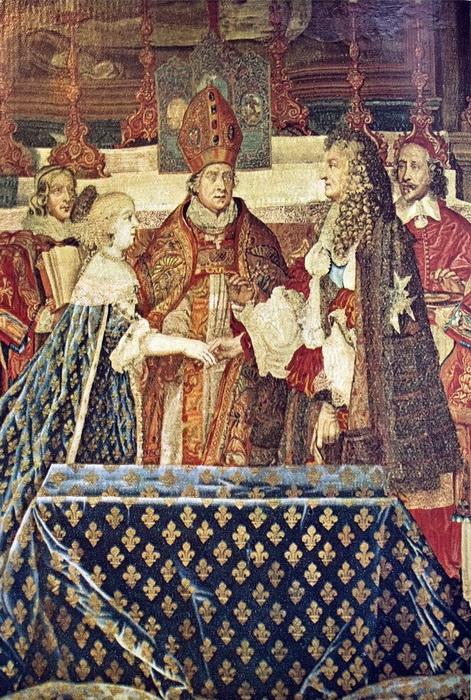 Ш. Лебрен. Свадьба Людовика XIV и Марии Терезии, Мазарини справа