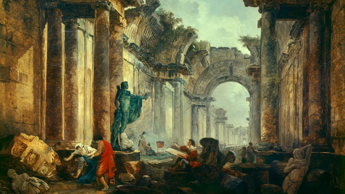 Ю. Робер. Воображаемый вид Большой галереи Лувра в руинах
