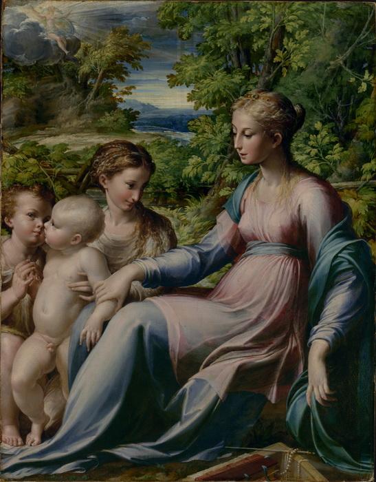 """Пармиджанино """"Мадонна с младенцем, Св. Иоанном Крестителем и Марией Магдаленой"""""""