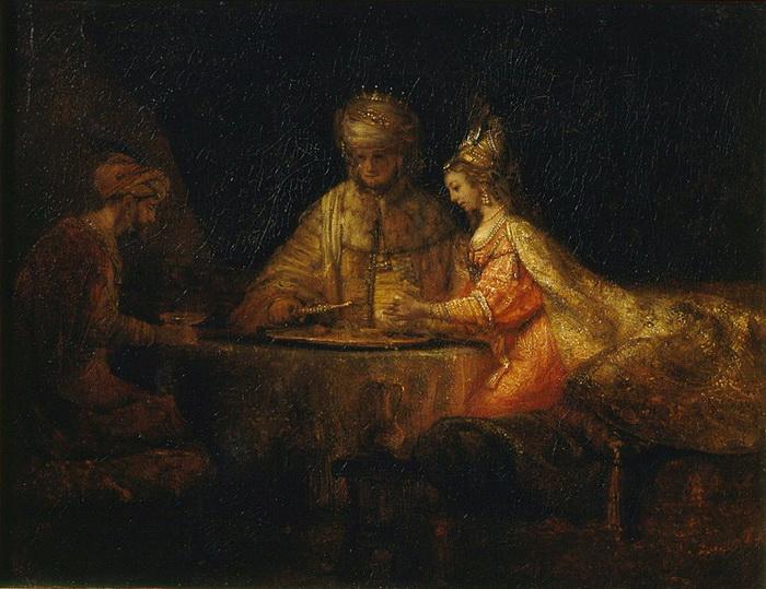 Рембрандт. Артаксеркс, Аман и Эсфирь