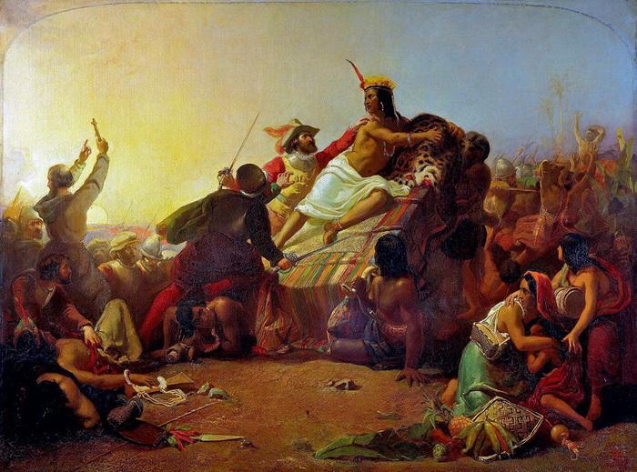 """Картина Милле """"Писарро берет в плен перуанских инков"""", ставшая лучшей на выставке Академии в 1846 году"""