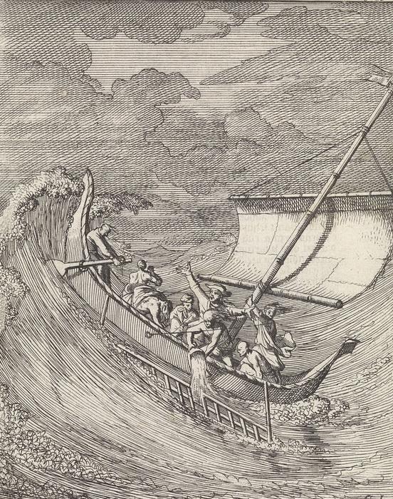 Гравюра К. Луйкена. Дампир борется со штормом