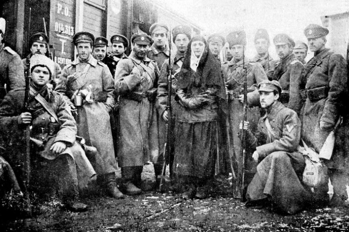 Январь 1918 г. Бойцы Добровольческой армии