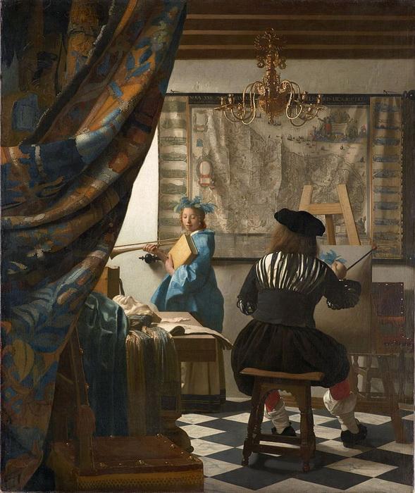 Ян Вермеер. «Аллегория живописи». Эта картина находилась в мастерской художника до самой его смерти, несмотря на денежные проблемы, он отказывался ее продавать