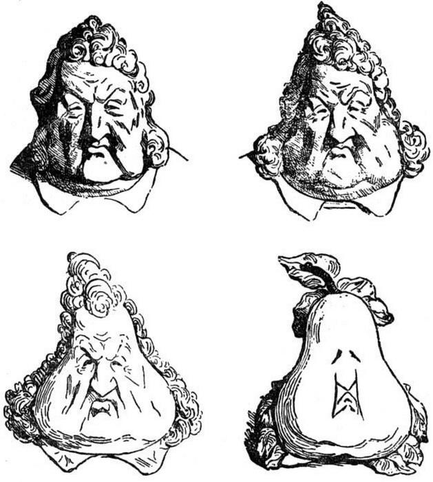 Ш. Филипон. Превращение головы короля Луи-Филиппа в грушу
