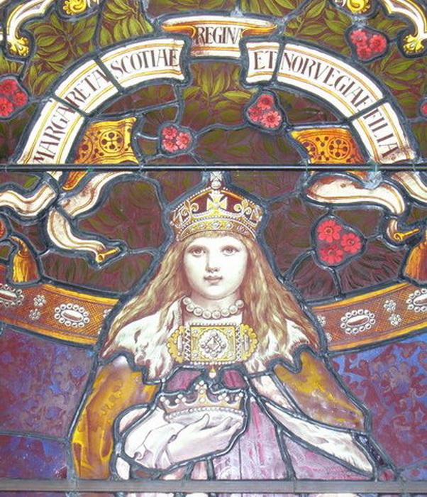 Витраж в ратуше шотландского Леруика: Маргарет Норвежская Дева