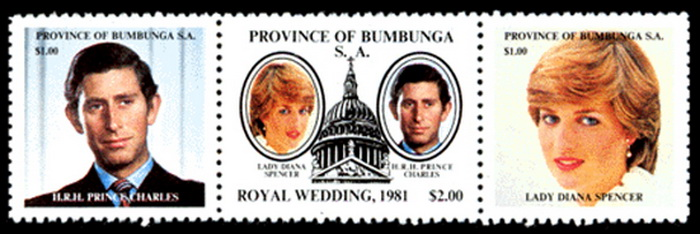 В 1976 году в Австралии была учреждена провинция Бумбунга; создавший ее фермер-англичанин выпустил 15 серий почтовых марок на роялистскую тему