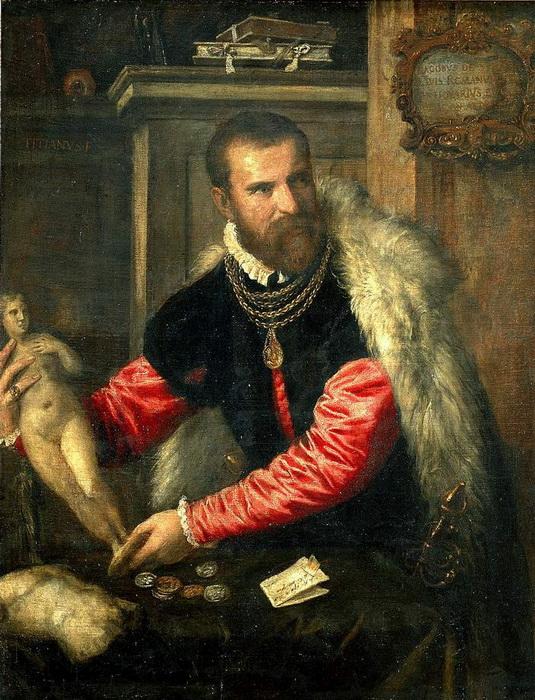 Тициан Веччелио. Портрет антиквара Якопо Страда. Подпись нередко размещали на одном из предметов, входящих в состав композиции - например, на листке бумаги