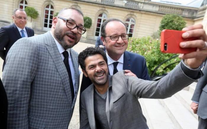 С королем Марокко Мохаммедом VI и экс-президентом Франции Франсуа Олландом