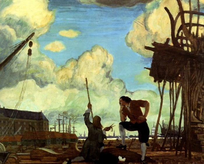 М. Добужинский. Петр Великий в Голландии