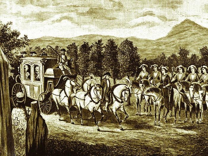 Рота амазонок на пути следования императрицы
