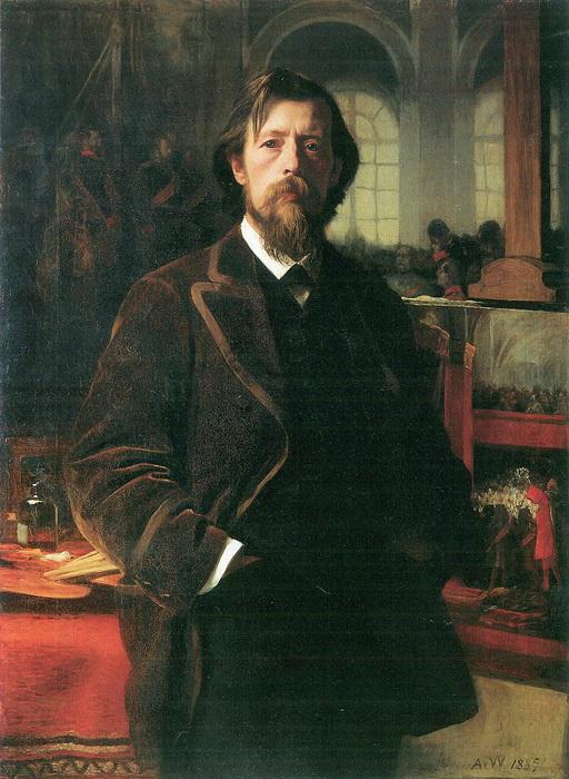 Автопортрет А. фон Вернера, немецкого художника, активного противника модернизма, отрицавшего заодно и способность женщины быть художником