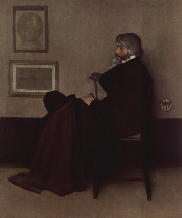 Д.М. Уистлер. Справа от фигуры Томаса Карлейля, виден отличительный знак художника - бабочка