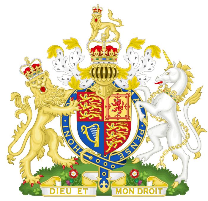 На гербе Соединенного Королевства изображены лев и единорог