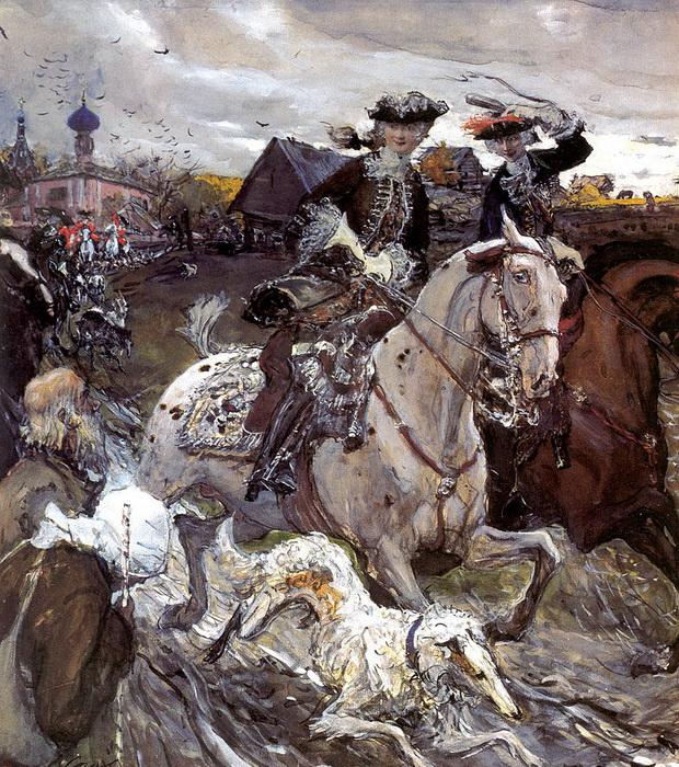 В. Серов. Выезд императора Петра II и цесаревны Елизаветы Петровны на охоту