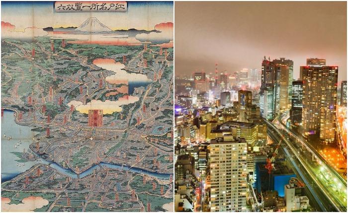 Город Эдо в 1858 году и современный Токио. Источник: wikipedia.org