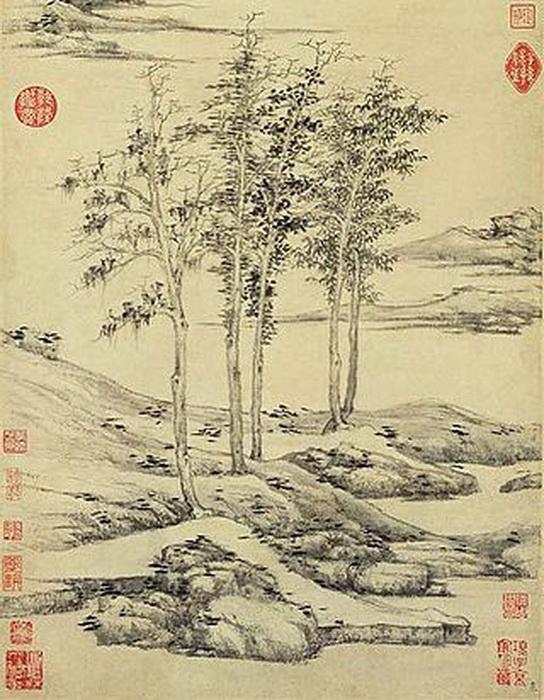 Считается, что первые создатели японского сада камней вдохновлялись китайскими монохромными пейзажами
