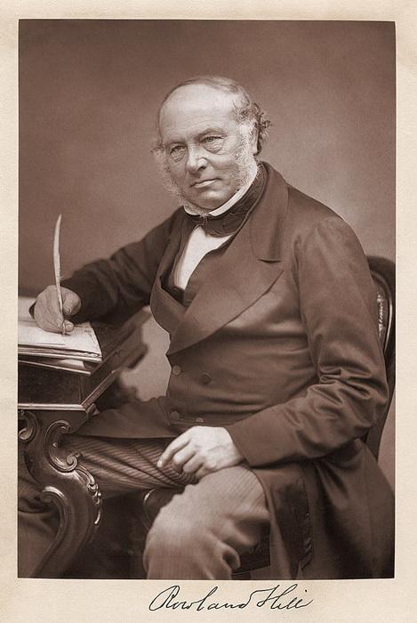 Сэр Роуленд Хилл (1795 - 1879), разработавший систему тарификации и предварительной оплаты почтовых отправлений