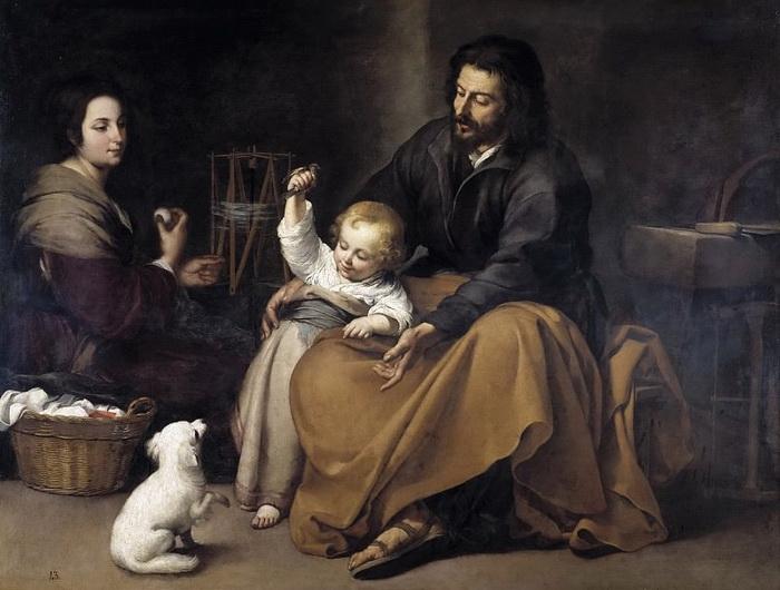 Б. Мурильо. Святое семейство с птичкой