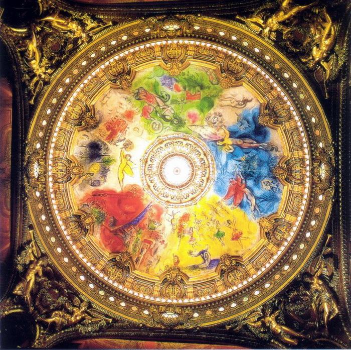Пять цветовых секторов нового плафона изображали сцены из музыкальных произведений
