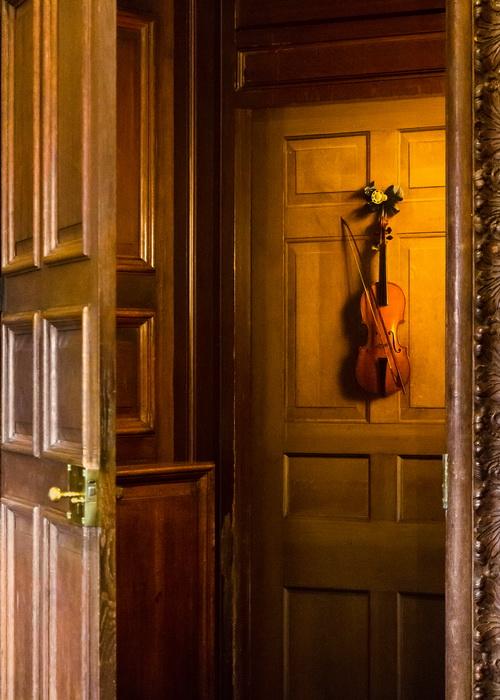 Изображенная на двери скрипка в поместье Чатсуорт-хаус, Дербишир, Англия