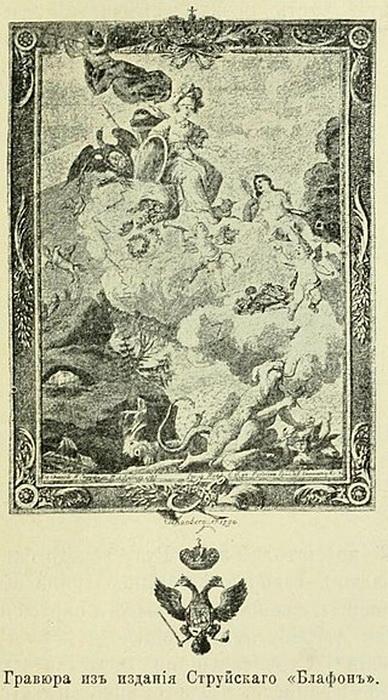 Сохранилась гравюра, изображающая плафон работы Зяблова в имении Струйского