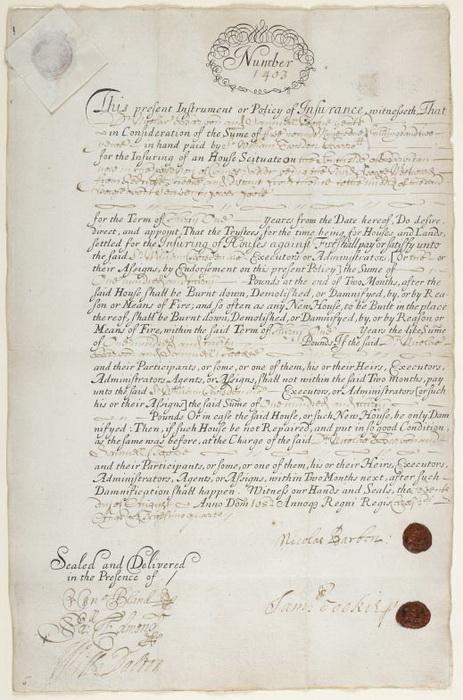 Страховой полис 1682 года, подписанный Барбоном. Его компания существовала до 1712 года