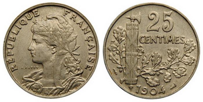 Профиль Марианны на монете в 25 сантимов