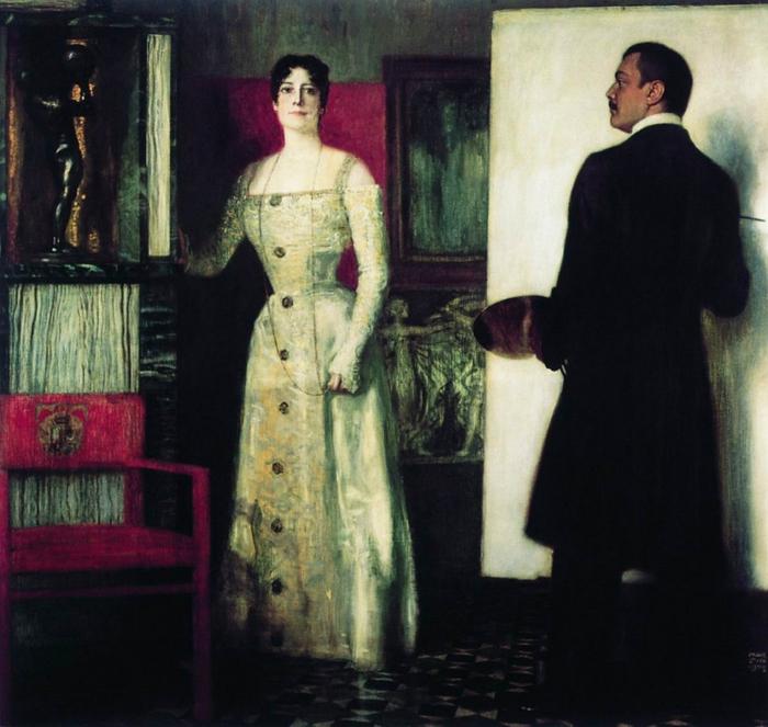 Ф. фон Штук. «Автопортрет с женой в мастерской»