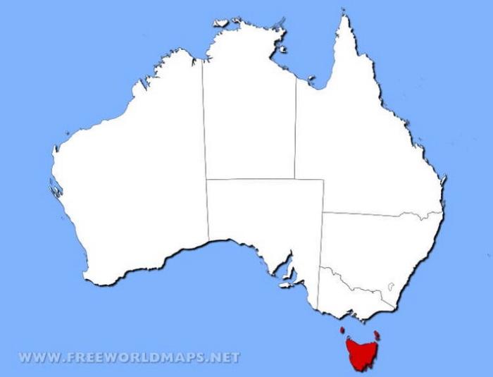 Красным на карте отмечен остров Тасмания