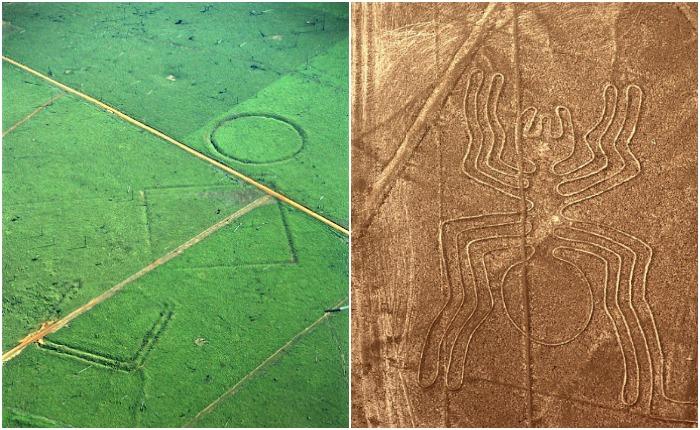Геоглифы в Амазонии и в долине Наска. Источники: wikipedia.org, pixabay.com