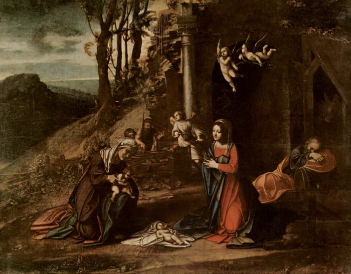 Одна из ранних работа Корреджо - «Рождение Христа»